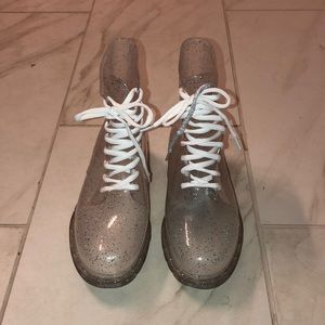 Urban Outfitters clear glitter rainboot NEVER WORN